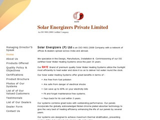 Industrial and Domestic solar water heaters from Solar Energizers,Bangalore