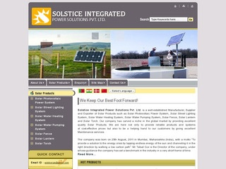 Solar photovoltaic power systems,street lights,water heaters,pumps,fence,lanterns,torches from Solstice,Mumbai