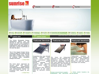 Solar water heaters,photovoltaic systems,collectors from Sunrise solar,Bangalore